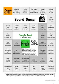 Board Game - A Terrible Day (Simple Past)