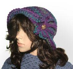 purple turquoise flapper #crochet beanie be Renate Kirkpatrick