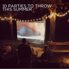 10 Parties to throw this summer including a: -Cycling Party -Artsy Tea Party -Backyard Movie Night -Favorite Things Party -Great Gatsby Garden Party -Banana Split Party -Book Swap and more. Backyard Movie Party, Backyard Movie Nights, Outdoor Movie Nights, Backyard Parties, Backyard Games, Outdoor Parties, Backyard Ideas, Garden Ideas, Outside Movie