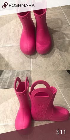Kids crocs rain boots Pink rain boots Shoes Rain & Snow Boots