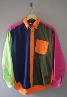 TOMMY HILFIGER* Men's VINTAGE 90s Pastel Color Block Lion Logo Hip ...