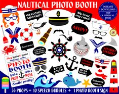 PRINTABLE Sailor Photo Booth Props–Nautical Photo Props-Sailor Props-Seaman Props-Captain Photo Props-Sailing Photo Props-Nautical Props-Nautical Photo Booth-Sailor Speech Bubbles-Nautical Photo Booth Sign-Instant Download