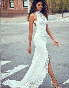 Gorgeous Embroidered Lace Slit Halter Backless Mermaid Wedding Dress / Bridal Gown with High Neck, Open Back and a Train. Dress by Grace Loves Lace White Lace Wedding Dress, Open Back Wedding Dress, Wedding Dress Train, Lace Mermaid Wedding Dress, Backless Wedding, Long Wedding Dresses, Perfect Wedding Dress, Mermaid Dresses, Cheap Wedding Dress