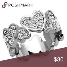 Stainless Steel  Heart Band Stainless Steel  Paved Stones  High polish  Sizes 5-10 Come with gift box  Please allow seven days for delivery. Jewelry Rings