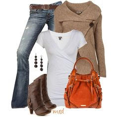"""""""September"""" by michelled2711 on Polyvore    £9.15 - evanity.com  Wrap Band Bottom Top  £39 - topshop.com  Button Knit Cardigan By Button Knit Cardigan By Wal G**   True Religion Destroyed Stretch Denim Carrie Jeans"""