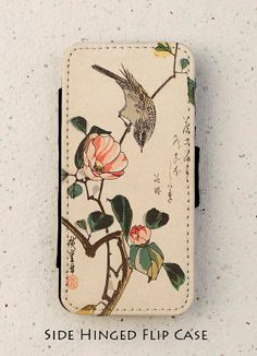 iphone 4, 4S or 5, 5S flip case - Japanese - Bird - Flower - Vintage - Design - Cover - Phone - Mobile - Samsung Galaxy S3, S3mini, S4