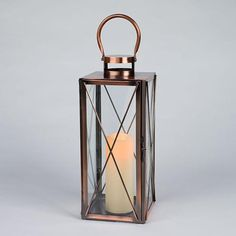 """6.7"""" x 16"""" - Metal Lantern - Copper Color - Rigid Glass Panes - Wavy Edge - Battery Operated   Gerson Flameless LED Resin Candle Light / Lantern with Timer"""