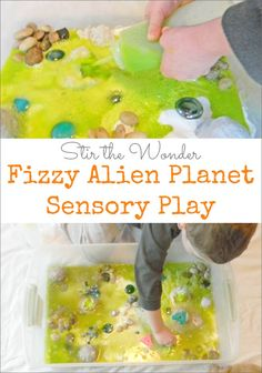 Fizzy Alien Planet Sensory Bin- A fun way to play and learn to recognize the letter A as well as the /a/ sound! | Stir the Wonder