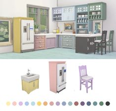 Parenthood Kitchen Recolor UpdateI updated the download folder, adding the sink, fridge and barstool so everything matches the counters, island and cabinets. Enjoy! 18 swatches Download