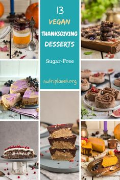 Are you looking for vegan Thanksgiving desserts that would please the whole family? Choose between 13 delicious gluten-free and refined sugar free desserts from chocolate peanut butter cups to pumpkin cheesecake. Sugar Free Vegan, Sugar Free Treats, Sugar Free Desserts, Vegan Dessert Recipes, Vegan Thanksgiving, Thanksgiving Desserts, Sans Gluten, Gluten Free, Candida Diet Recipes