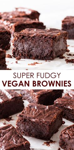 These are the best vegan brownies you'll ever taste. They're perfectly fudgy, intensely chocolatey, super easy to make and require only 7 ingredients! Vegan Chocolate Brownies, Fudgy Brownie Recipe, Gooey Brownies, Brownie Recipes, Chocolate Recipes, Decadent Chocolate, Vegan Desserts, Easy Desserts, Delicious Desserts