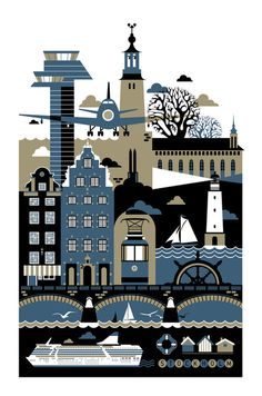 """Stockholm"" Graphic/Illustration by koivo posters, art prints, canvas prints, greeting cards or gallery prints. Find more Graphic/Illustration art prints and posters in the ARTFLAKES shop. Illustrations Vintage, Illustrations Posters, Number Art, Poster Series, Travel Illustration, Graphic Illustration, Canvas Prints, Art Prints, Dot And Bo"