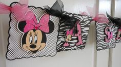 Minnie Mouse Zebra Birthday/Name Banner by ASweetCelebration