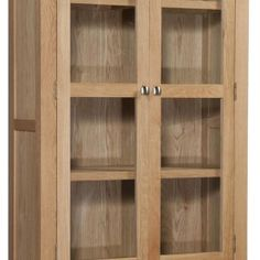 Oak Storage Cabinet With Glass Doors