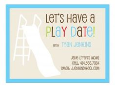 Flat Note Card - Playdate Invitation - set of 25