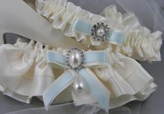 Bridal Garters Toss and Keep Satin Ivory or by CrystalAvenues, $30.00