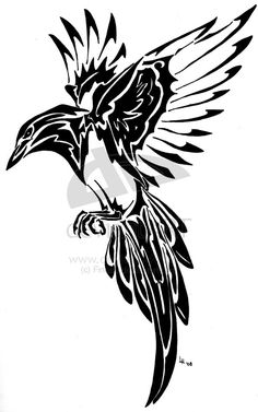 Magpie tribal tattoo by ~Finaira on deviantART