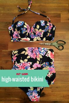 This DIY high-waisted bikini doesn't require any sewing!