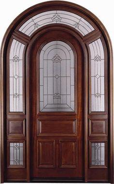 Solid Wood Mahogany Full Light Arch Exterior Pre-Hung Door.  safewholesale.com