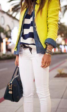 #street #style / stripes + denim + yellow