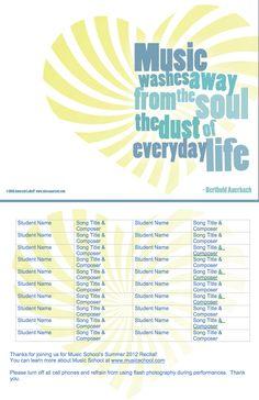 (MORE) FREE CUSTOMIZABLE RECITAL PROGRAM TEMPLATES  www.missamaryah.com