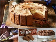 No Bake Tim Tam Cheesecake Recipe - we've included a Copycat Recipe to make your own Chocolate Tim Tam or 'Penguin' Biscuits at home. Tim Tam Cheesecake, Cheesecake Recipes, No Bake Desserts, Just Desserts, Dessert Recipes, Gourmet Recipes, Sweet Recipes, Baking Recipes, Tim Tam Cake