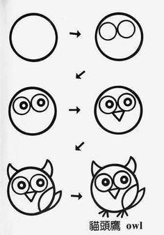 Kunst Zeichnungen - draw owl cartoon tutorial step by step for kids Art Drawings For Kids, Doodle Drawings, Drawing For Kids, Animal Drawings, Easy Drawings, Doodle Art, Art For Kids, Owl Drawing Easy, Owl Doodle