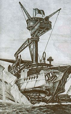 """Most Bizarre All-Terrain Vehicle Ever Conceived    We have to finish with this idea, from the Soviet technology magazine in 1937. Engineer Georgi Pokrovski had the ultimate solution for conquering polar wastes: a hybrid of sea-going vessel with a giant tracked mobile base. He called it an """"Arctic Amphibian Tank"""" and described it as 1000-tons fortress which will navigate the icy plains with tracks and use them to propel the ship through the water as well..."""