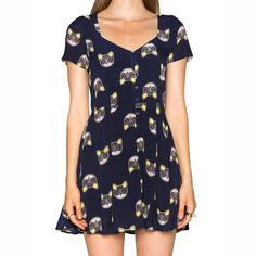 Navy Cat Print Single Breasted Lace-up Slim Dress