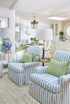 2017 One Room Challenge Reveal Club chairs covered in Stroheim performance fabric for The Pink Pagoda's One Room Challenge™.Club chairs covered in Stroheim performance fabric for The Pink Pagoda's One Room Challenge™. Coastal Living Rooms, My Living Room, Living Room Decor, Coastal Cottage, Blue And Green Living Room, Cottage Living, Small Living, Blue Living Rooms, Living Room Chair Covers