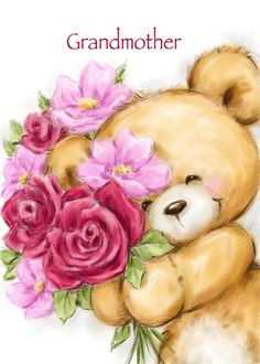 Cute bear holding flowers for Grandmother's birthday card. Cards are shipped the Next Business Day.