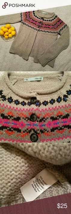Maurices SZ Small Fair Isle Cardigan Sweater Gray button cardigan sweater. 3 buttons up top and open the rest of the way down. EUC.  Vibrant Pink, Orange and Blue around the top.  Fair Isle style pattern.  Smoke free, dog friendly home.  Will bundle. Maurices Sweaters Cardigans