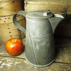 Granny's Early Old Farmhouse Kitchen Tin Coffee Pot #HannahsHouseAntiques #Primitives https://www.rubylane.com/item/497177-9388/Grannyx27s-Early-Farmhouse-Kitchen-Tin-Coffee