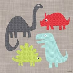 Oopsy Daisy A Gathering of Dinosaurs Canvas Art