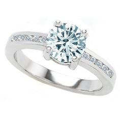 1.60 cttw 925 Sterling Silver 14K White Gold Plated Simulated Round Aquamarine Engagement Ring Size 7, 120