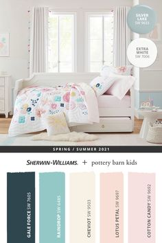 For bedroom paint colors your little ones can grow with, tap this pin to explore the @potterybarnkids Spring/Summer 2021 paint palette from Sherwin-Williams. Shop online for kid-friendly hues for walls, trim, and furniture, then get your DIY painting project started. #sherwinwilliams #DIY #decor #kidsbedroom #whitebedroom #lovemypbk #pbkids #potterybarnkids #homedecor #painting #colorinspiration #renovation #paint #whitepaint #bluepaint #beigepaint #pinkpaint Kids Bedroom Paint, Girls Room Paint, Girls Bedroom Colors, Bedroom Paint Colors, Paint Colors For Home, E Room, Big Girl Rooms, Diy Painting, Coupon