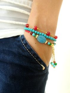 Ethnic bracelet set in turquoise red natural beads by Handemadeit, $26.50