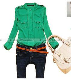slim fit camisa de manga larga blusa top s m l color rojo blanco amarillo verde