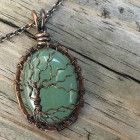 "Medium Amethyst February Birthstone Gemstone Antique Copper Wire Wrapped Bare Winter Tree of Life Pendant Handcrafted by Ann White. This pendant is medium and hangs 1 5/8 inches from the top of the bail and is 15/16 inches wide. Pendant comes on an Antique Copper colored brass chain that is 18 inches with 2 inch extender chain with lobster claw clasp. You can request the chain in a different length at no additional charge. Standard lengths are 16"" with 2"" extender, 18&..."