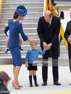 Catherine Duchess of Cambridge Princess Charlotte Prince George and Prince William Duke of Cambridge arrive at Victoria Airport ahead of their Royal...