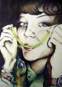 A Level Art coloured pencil portrait