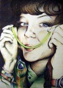 A Level Art coloured pencil portrait