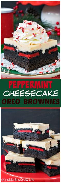 Peppermint Cheesecake Oreo Brownies - layers of homemade brownies, cookies, and .Peppermint Cheesecake Oreo Brownies - layers of homemade brownies, cookies, and . New Year's Desserts, Holiday Desserts, Holiday Baking, Christmas Baking, Holiday Recipes, Delicious Desserts, Dessert Recipes, Holiday Cookies, Camping Desserts