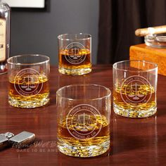 Scales of Justice Personalized Buckman Whiskey Glasses Set of
