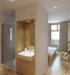 Apartment, Neutral Ensuite Shower Room Small: Small Apartment withal Collapsible Features