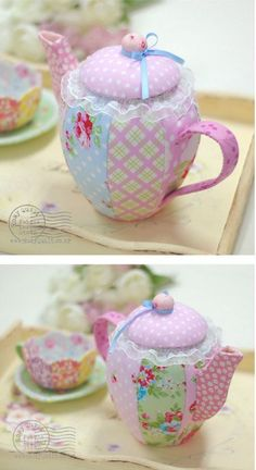 Love this idea for patchwork teapot pincushion. :)