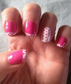 Shellac - Hot Pop Pink with White ring finger and tips plus pink polka dots