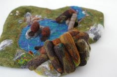 needle felted beaver pond playset: Crafts Felting, Felted Playscapes, Felted Beaver, Felting