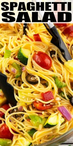 Quick, easy spaghetti salad recipe, homemade with simple ingredients in one pot in 20 minutes. Served cold with fresh vegetables, noodles, Italian dressing. Easy Summer Salads, Salads For A Crowd, Easy Salads, Food For A Crowd, Italian Spaghetti Salad Recipe, Cold Spaghetti Salad, Pasta Spaghetti, California Spaghetti Salad Recipe, California Salad Recipe