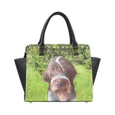 Dog and Flowers Rivet Shoulder Handbag. FREE Shipping. #artsadd #bags #dogs